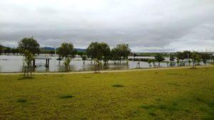筑後広域公園の船小屋駅側も水没している